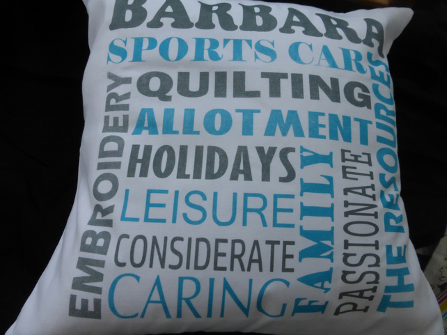 Personalised cushion- word art