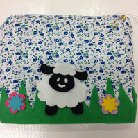 Sheep applique make up bag - purse