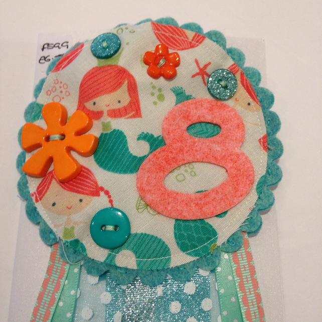 Birthday badge-Rosette Mermaid