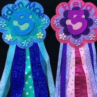 Birthday badge-Rosette Flower - any colour