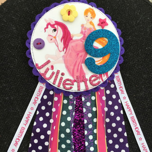 Birthday badge-Rosette Princess on a horse - personalised