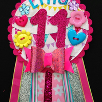 Birthday badge-Rosette - bunting - glitter number