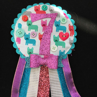 Birthday badge-Rosette -colourful dog design