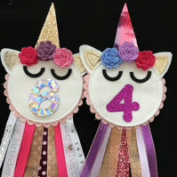 Birthday badge-Rosette - Unicorn face