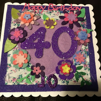 40th birthday card - flowers