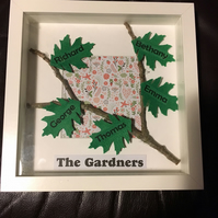 Family Leaf Frame with real twig