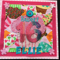 16th birthday card - Cupcakes