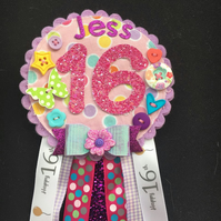 16th Birthday Age badge-Rosette Personalised - pretty