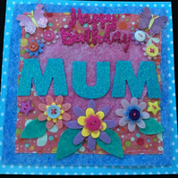 Mum floral felt handmade card with butterfly