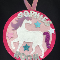 Pretty personalised Unicorn Door hanger for girls