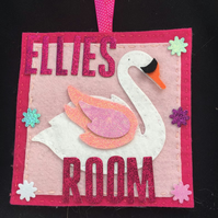 Swan personalised  Door hanger for girls