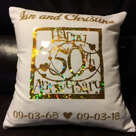 Personalised Golden Wedding Cushion - 50 Years gift