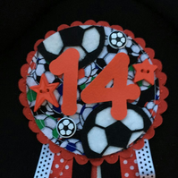 Birthday badge-Rosette Personalised - birthday football - male