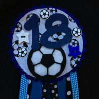 Birthday badge-Rosette Personalised - birthday football - male - Blue