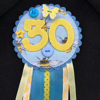 Birthday badge-Rosette Personalised - birthday bee and butterfly- female
