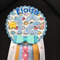 Birthday badge-Rosette Personalised - hedgehog- female
