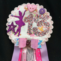 Birthday badge-Rosette Personalised - Ballet design  new - girls