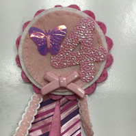Birthday badge-Rosette - Smaller design - pretty pink - butterfly