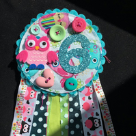 Birthday badge-Rosette - Birthday Girl - Owl design