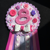Birthday badge-Rosette - Birthday Girl - pink and purple hearts