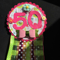 Birthday badge-Rosette - 50th Birthday - Birds - pink and lime