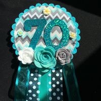 Birthday badge-Rosette - Turquoise - 70th Birthday design - floral