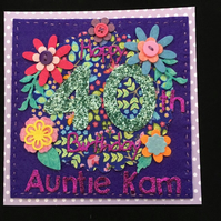 40th birthday card - flowers - Auntie