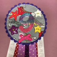 Birthday badge-Rosette -colourful canvas shoe design