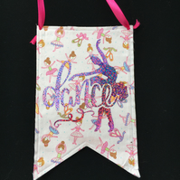 Fabric hanging bunting flag -- Ballet dancer Design