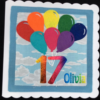 Rainbow Balloon birthday card - any age - personalised