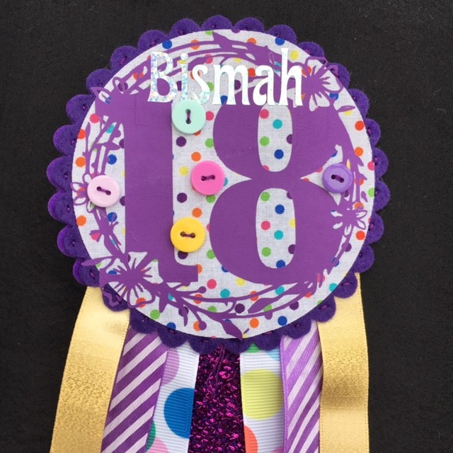 18th Birthday badge - Rosette - Pretty design - Personalised