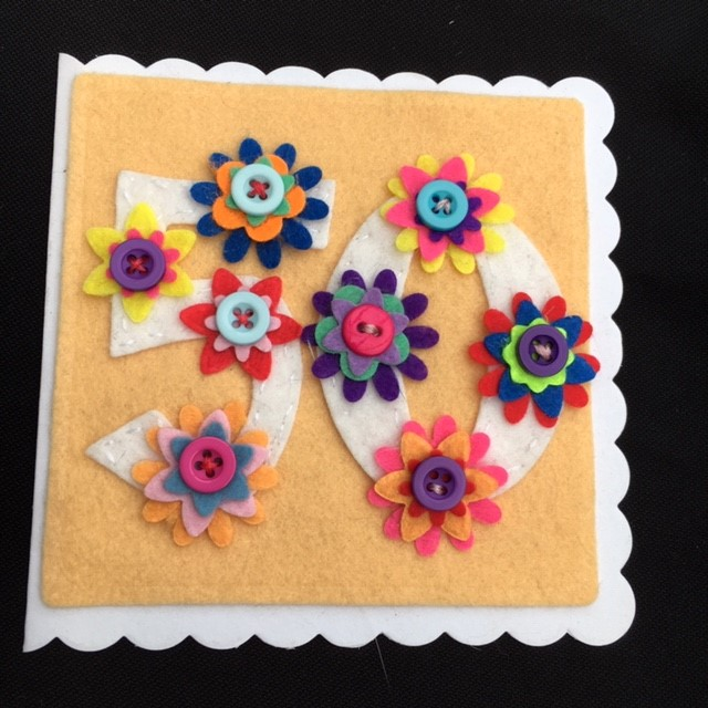 50th birthday card - Floral and Pretty