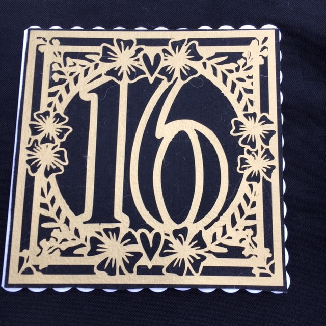 16th birthday card - Stunning Black and Gold