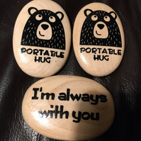 Portable Hug Pebble - Wooden - Large Size