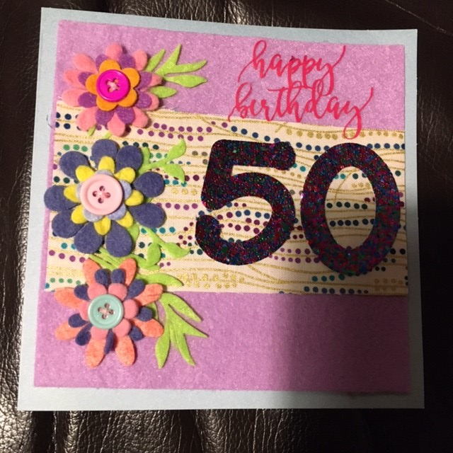 50th birthday card - Floral pretty design - can be personalised