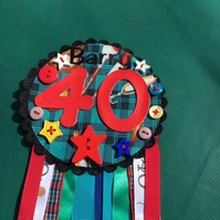 Birthday badge-Rosette Birthday male - fishing - any age