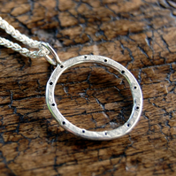 Porthole sterling silver pendant and chain necklace