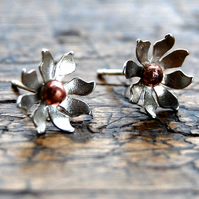 Silver & copper daisy flower stud earrings