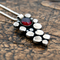 Garnet silver pebble pendant necklace