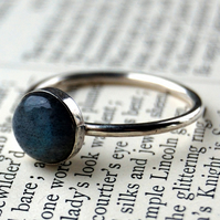 Labrodite & silver simple ring