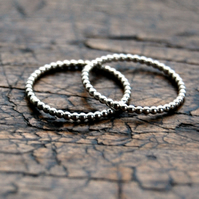 ONE Beaded sterling silver ring