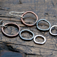 Organic sterling silver & copper dangle earrings