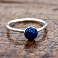 Lapis lazuli sterling silver stacking ring