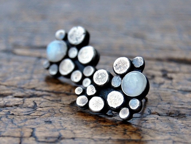Pebble moonstone & sterling silver stud earrings - made in Orkney