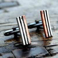 Organic copper & silver cufflinks