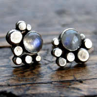 Pebble moonstone silver small studs - unique jewellery handcrafted in Orkney