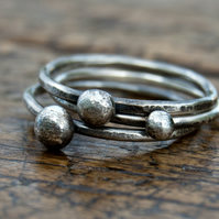 THREE stacking rings - sterling silver & copper