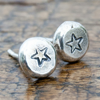 Star stamped pebble studs