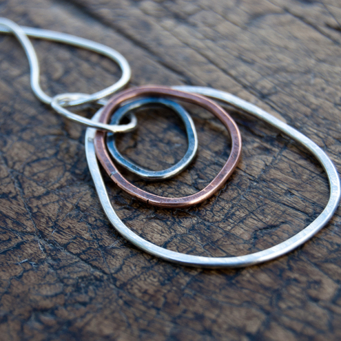 Organic necklace - sterling silver & copper