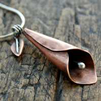 Cala Lily Copper & Sterling Silver Pendant Necklace